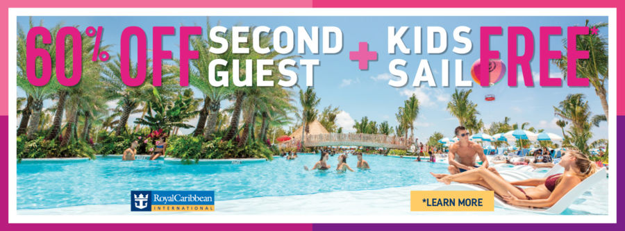 60% off Second Guest PLUS Kids Sail FREE with Royal Caribbean. Terms and conditions apply. Click to learn more.
